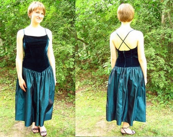 Upcycled Teal Party / Prom Dress, Modern Size 8, Small