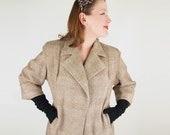 50s Fine Wool Tweed Brown Glen Plaid Coat by Max Levine M