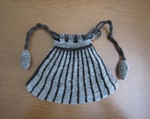 Vintage Crochet Beaded Purse - Draw String Crystal Beads - 1900