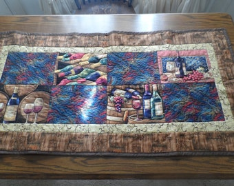 wine wine bottle quilted brown blue purple  table runner