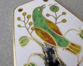 Vintage 1960s Enamel Modern Bird Pendant for statement necklace