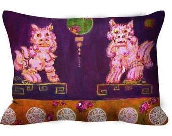 Decorative throw pillow purple foo dogs with pink roses chinoiserie