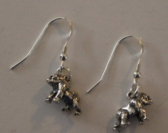 Sterling Silver 3D GORILLA Earrings  - French Earwires - Wildlife, Primate