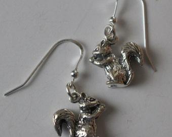Sterling Silver 3D SQUIRREL  Earrings  - Pet, Wildlife, Totem
