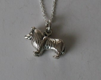 Sterling 3D COLLIE DOG Pendant and 20 Inch Chain  - Dog, Pet - Heavy