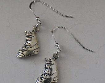 Sterling Silver SNOW SKI BOOT Earrings - Wintersports