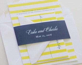 Yellow and Navy Wedding Invitation, Stripe Wedding Invitation, Belly Band Wedding Invitation - Sample  (Free Shipping)