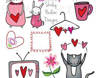 Lovey Dovey illustrations png files - 8 designs Clip art hearts cat bunny artwork