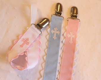 Embroidered Cross Pacifier Clip Holder Easter Christening Church Baby Child