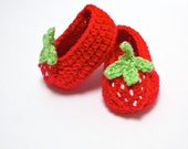 CUSTOM listing for Jessica  Red Crochet Strawberry Baby Slippers Shoes Booties size 6-9 months