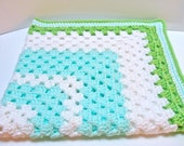 RESERVED for Jessica Mint Lime and White Crochet Granny Square Receiving Car Seat Blanket With Striped Border