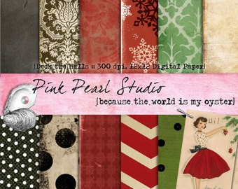 Deck the Halls Vintage Christmas Digital Paper Pack 12x12 Scrapbooking, Crafts and Cardmaking