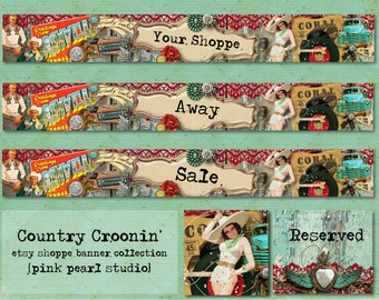 Country Croonin' Retro Music Cowboy Western Chippy Shabby Etsy Shop Set, Includes Banner, Avatar, Reserved Listing, Away and Sale