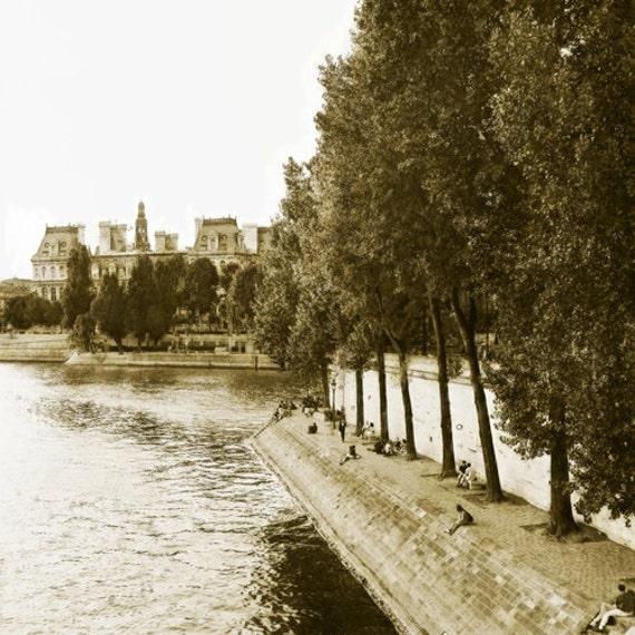 Paris Riverbank I  Archival Print