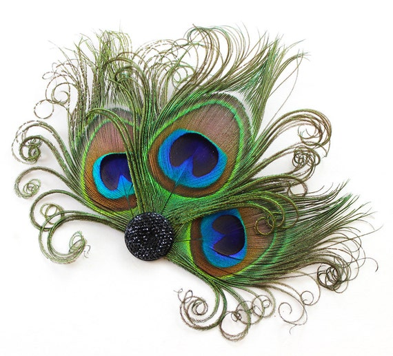 Peacock Feather Fascinator, Hair Accessory, Bridesmaids, Head Piece, Hair Clip, Victorian, Jet Black, Pick Your Own Colors
