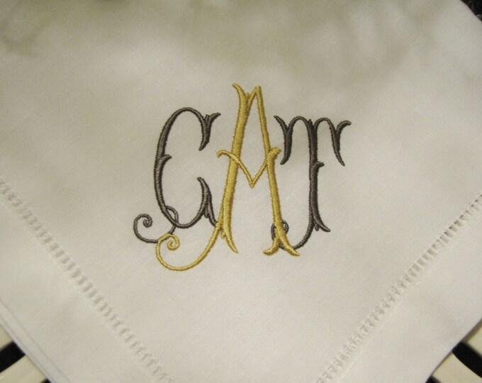 Set of Eight Custom Monogrammed Dinner or Luncheon Sized Napkins, Wedding Napkins, Bridal Shower, Bridal Luncheon