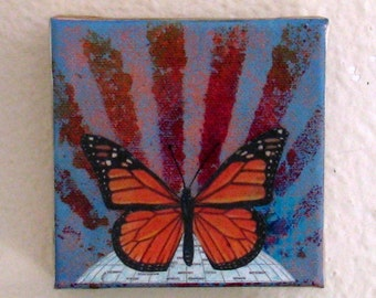 monarch butterfly mixed media painting art - rise - by tremundo