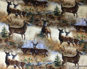 Scenic Field of Deer Buck Wildlife Custom Sewn Cabin Lodge Curtain Valance NEW