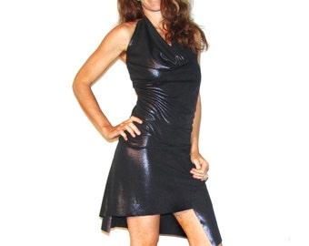 ON SALE - Black Lightning Halter Dress - Assymetrical