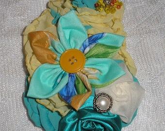 Handmade Fabric Brooch Pin Jewelery  Accessory YoYo-Rolled Rosettes Yellows + Turquoise