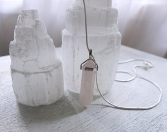 Rose Quartz Point Pendant Necklace