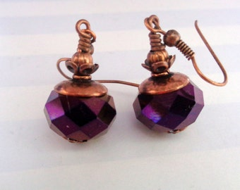 Sparkly Earrings,Purple Earrings,Dangle Earrings, Antique Copper