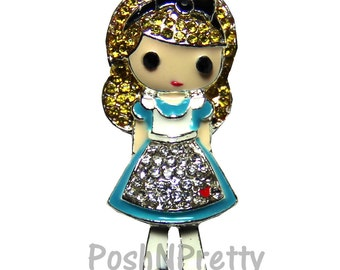 NEW 1.25 inches ONE Character Sparkle Flat back Center - BLINGED Alice