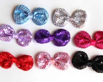 "8 PCS of 3"" SEQUIN Fabric Bling puffy Bows Applique- pick COLORS"