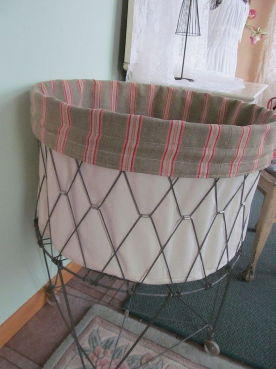 Items Similar To French Laundry Wire Hamper Liner Stripe