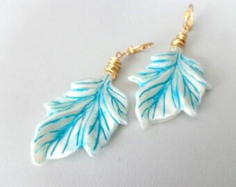 Cream turquoise leaf dangle earrings