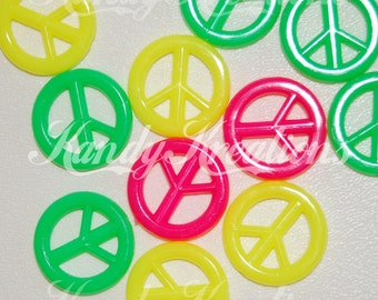 20 PEACE SIGN big Shaped pony beads in neon colors for hippie hippy Crafts kandi raver bird toy parts Necklaces Bracelets
