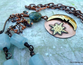 Celestial* Moon & Stars Necklace Blue Green Artisan Lampwork Jewelry Organic Mixed Metal Jewelry Rustic Wire Wrapped Copper Stone Necklace