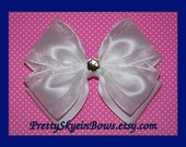 Layered Medium Boutique Hair Bow Clip in White