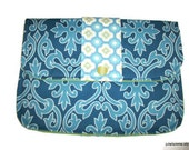 Clutch Purse Sky Blue Damask Padded Tablet Cover