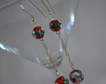 Red Floral Dangle Earrings (LVE131)
