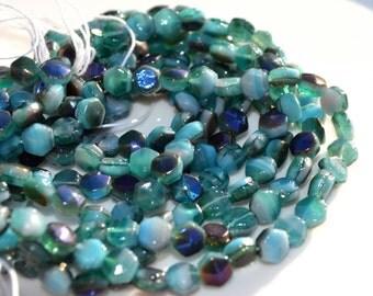 Deep Ocean Blue 5mm Nailhead, Czech Glass Beads  25