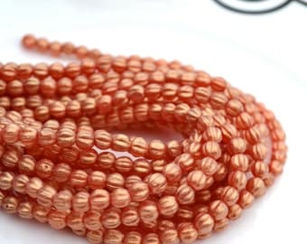 Sueded Gold Ruby 5mm Melon Beads  50