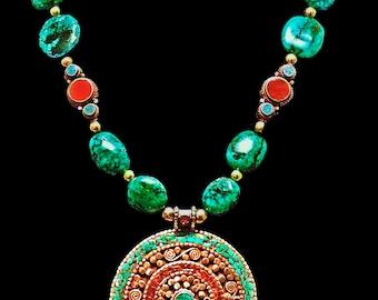 Nepali Vintage Handmade Pendant & Beads