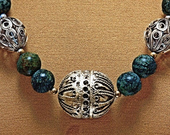 Handsome Necklace - Moroccan Filigree & Green Jasper