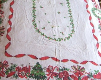 lovely holiday print linen table cloth