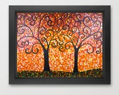 "Abstract Tree painting Giclee prints & posters Wall art wall decor wall hanging gift ideas ""Let's Tango"" by QIQIGallery"