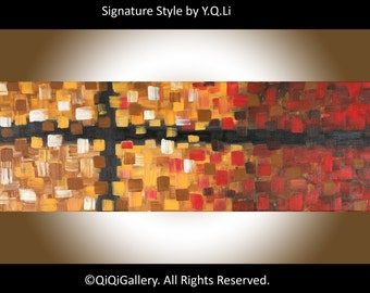 "Original Acrylic painting Christmas gift Abstract Painting Palette Knife modern Impasto Painting wall art Wall Decor ""Cross"" by QIQIGallery"