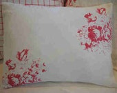 Cottage Linen Pillow Shabby Chic 14x18 DOWN French Red Cabbage Roses