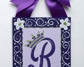 Personalized Purple lavender white green Flower princess crown Custom canvas letter name sign wall art monogram children baby nursery decor