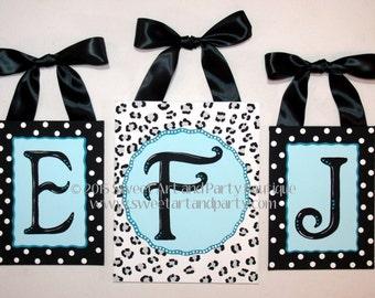 Cheetah CUSTOM letters wall art name sign baby kid nursery tuquoise aqua blue black polka dots white handpainted monogram 3 piece set