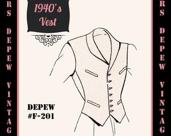 Menswear Vintage Sewing Pattern Men's Basic Vest Sloper in Any Size - Plus Size Included -Depew F-201 -INSTANT DOWNLOAD-