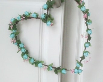 Front Door Heart Wreath Home Decor Aqua turquoise shabby gift artificial decoration Robin Egg Blue send flowers hostess get well gift