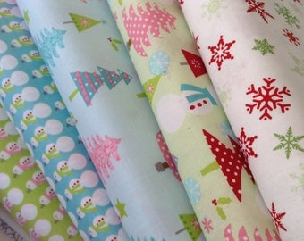 Riley Blake Designs Christmas Fabric HALF Yard Set of five (5)  Lime  Blue Red White- Christmas Trees - Snowman - Snowflakes Holiday
