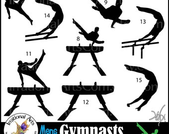 Male Gymnasts Silhouettes set 6 INSTANT DOWNLOAD 8 png graphics Gymnastics clipart graphics tumbling cheer Olympic competition gymnast