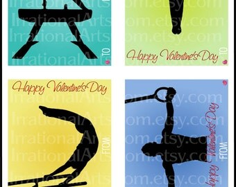 Valentines Day Cards MALE Gymnasts set 2 - kids classroom exchange DIY Printing gymnastics silhouette valentine Jpg & Pdf{Instant Download}